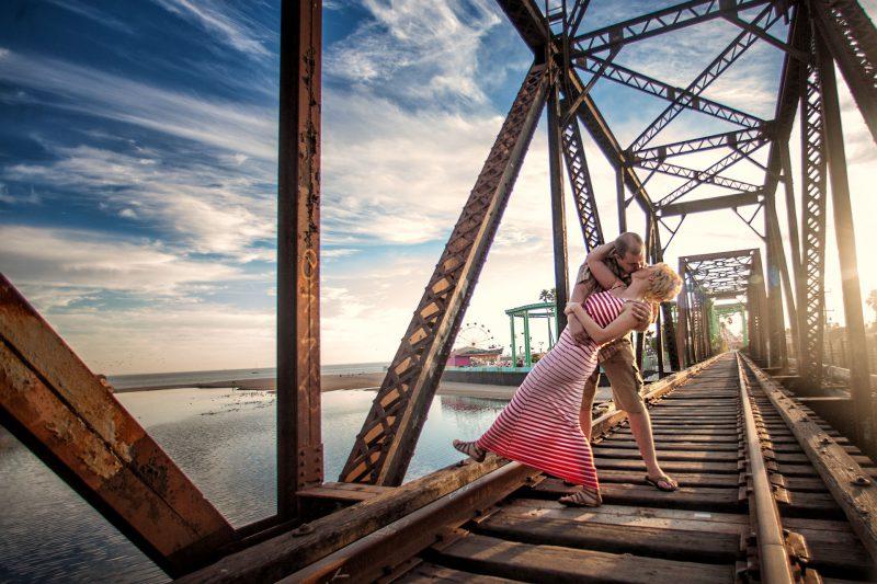 Cinematic engagement session at the famous Santa Cruz bridge by Matthew Leland Photography