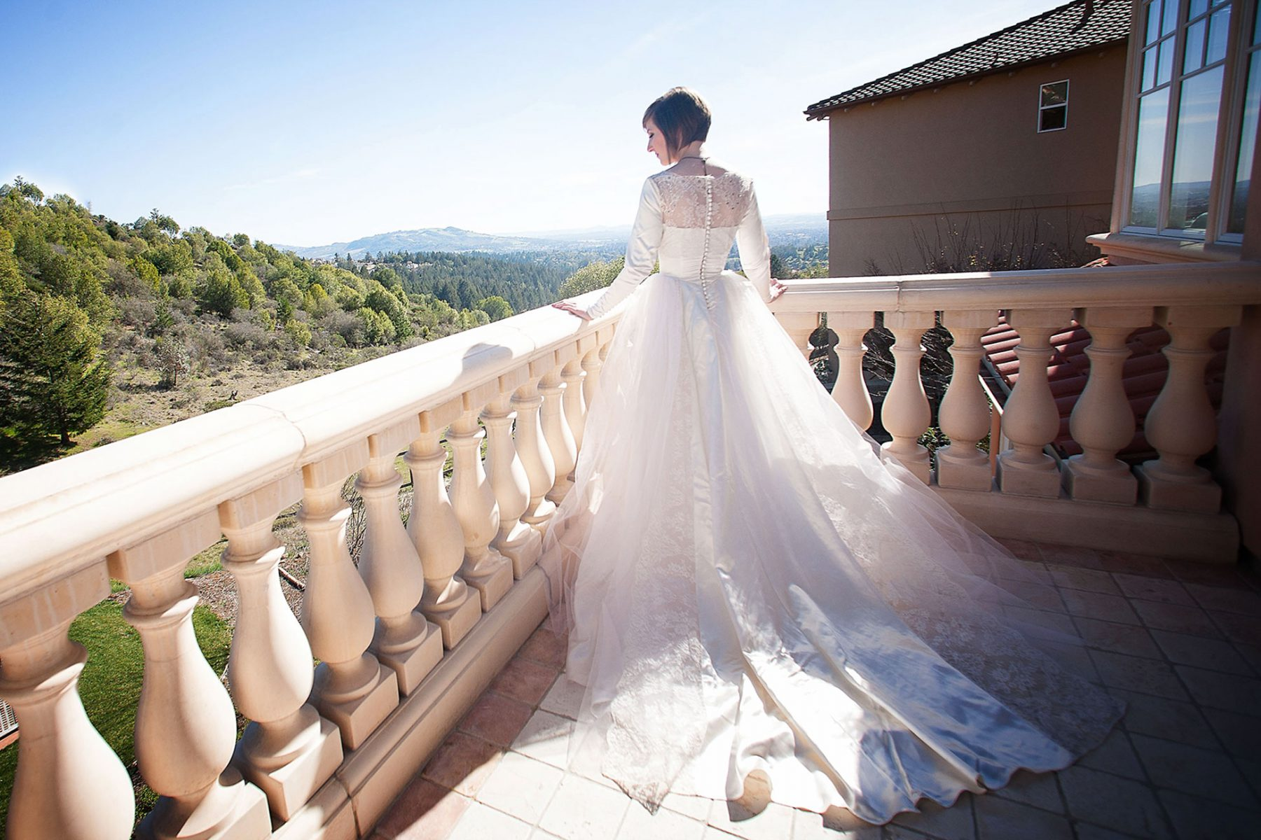 Vintage style hand made wedding gown by Dainty Rascal at a Napa Valley estate wedding by Matthew Leland Photography