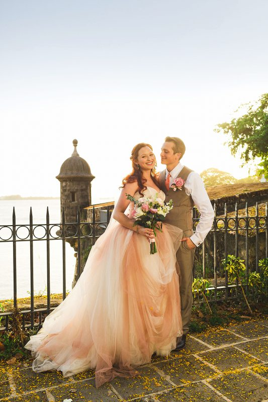 Bride in a blush pink Vera Wang wedding gown in Old San Juan Puerto Rico by Matthew Leland Photography