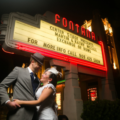 Fun movie theater wedding in Fontana by Matthew Leland Photography