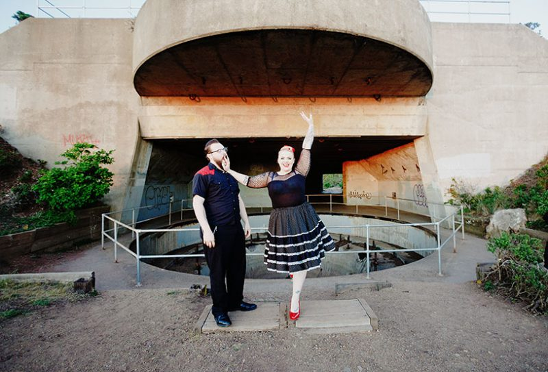 Rockabilly tattooed engagement in the marin headlands by Matthew Leland