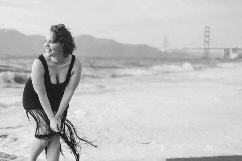 Sunset boudoir session of Elly Mayday at Baker Beach in San Francisco by Matthew Leland