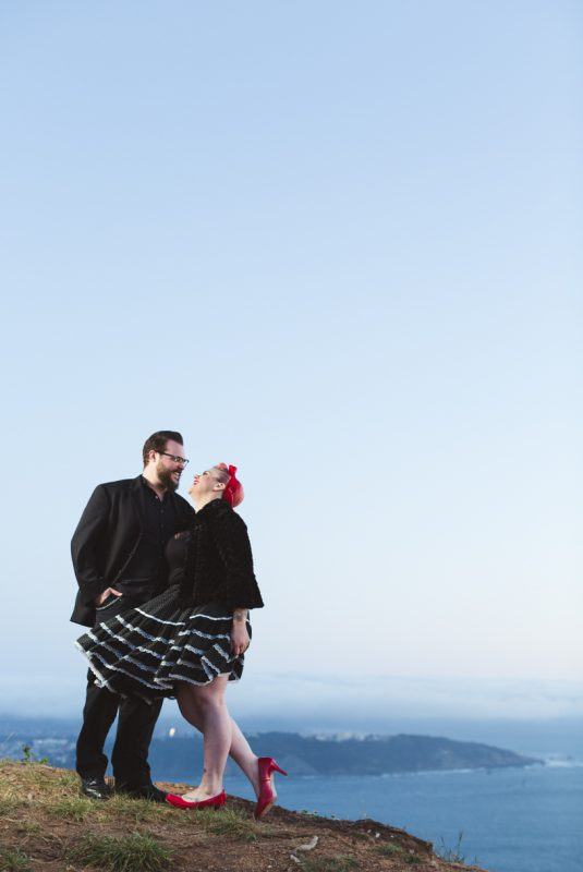 epic engagement photography of rockabilly couple in the marin headlands for a night time engagement by matthew leland
