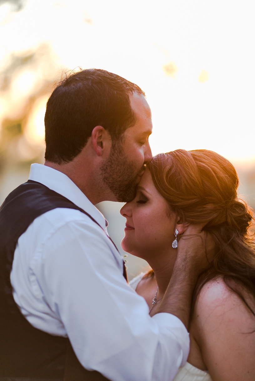 Sunset romantic portraits at a bride and groom's rustic wedding at the double t in Stevinson California by Matthew Leland Photography
