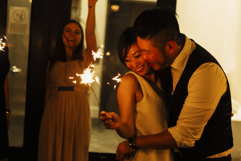 romantic nighttime wedding photography during a sparkler exit at the firehouse 8 by matthew leland photography