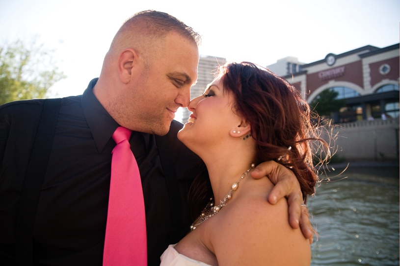sunset portrait of a bride and groom during a hot august nights wedding in Reno, Nevada by Matthew Leland Photography