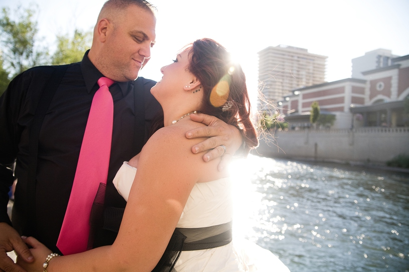 Hot rod wedding couple married in Reno Nevada during Hot August Nights by Matthew Leland Photography