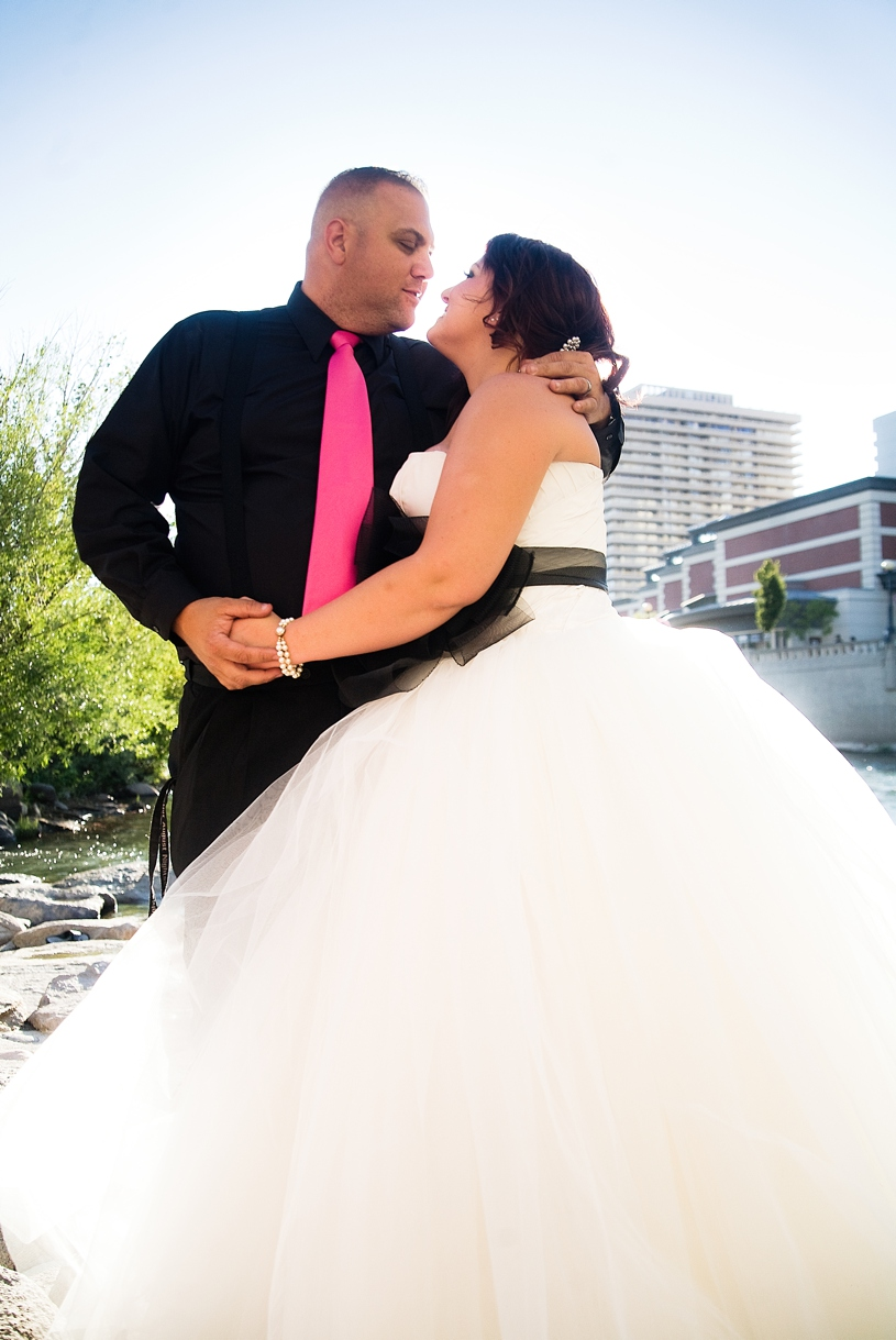 Vera Wang gown at a Hot August Nights wedding in Reno Nevada by Matthew Leland Photography