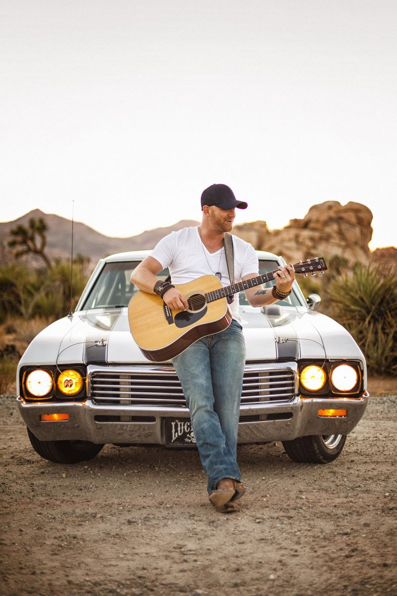 Promotional musician portraits of country music artist Tim Hicks in the Joshua Tree National Park by Matthew Leland Photography