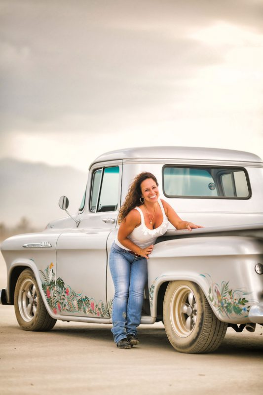 Promotional portrait for custom hot rods in the Utah Salt Flats by Matthew Leland Photography