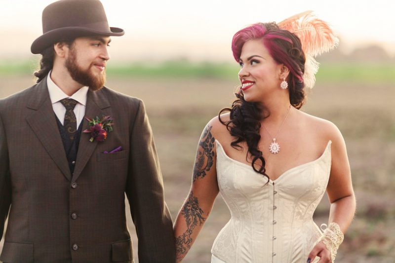 cute wedding couple vintage styled with alternative looks