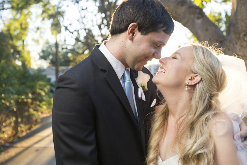 Sunset midtown Sacramento bride and groom portraits on their wedding day by Matthew Leland Photography