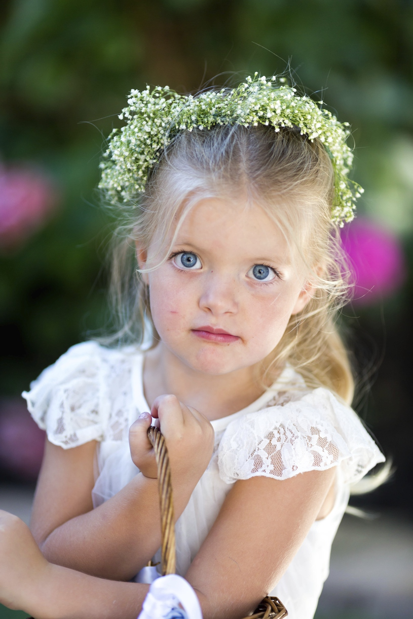 Little sweet flower girl portrait at a wedding at Vizcaya in Sacramento by Matthew Leland Photography