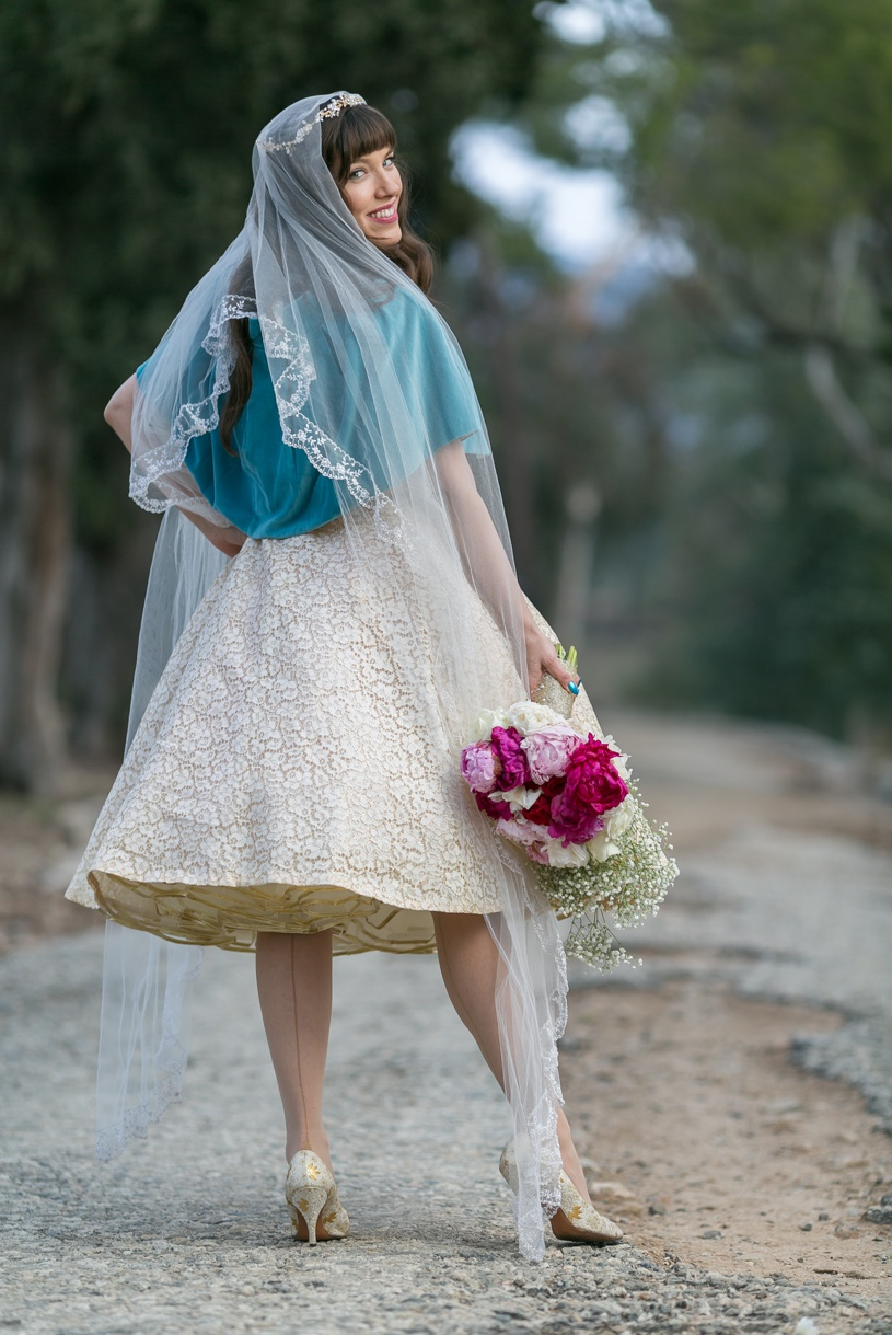 hipster vintage themed bride in los angeles by matthew leland photography