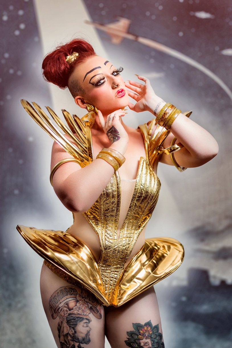 Retro futuristic model with tattoos by matthew leland photography