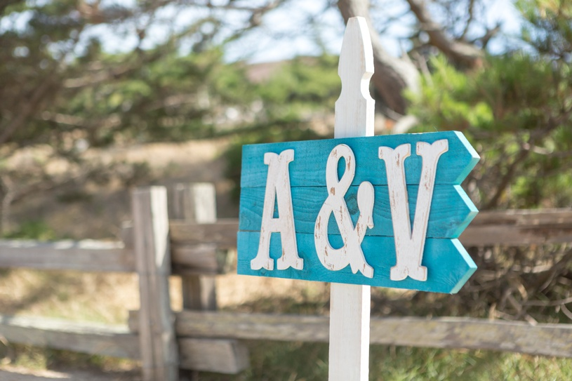 beach wedding sign home made