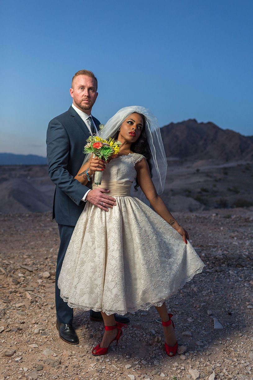 las vegas stylized wedding with mixed couple in desert during rockabilly weekend