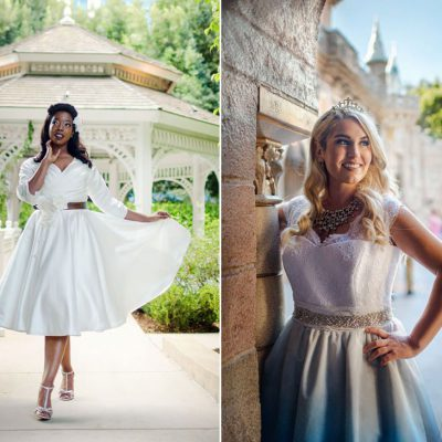 disneyland wedding bridal photos with dolly couture by Matthew Leland Photographer